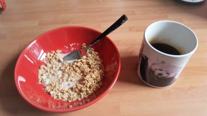 Granola and coffee for breakfast
